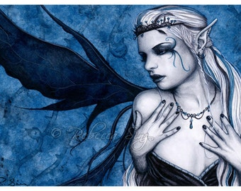 Black Tiara ACEO print Gothic Fairy Art Blue Black White Artist Trading Cards ATC Fantasy Art