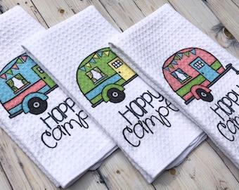 Happy Camper Kitchen Towel - Camping Gift - Camp Kitchen - RV Decor - Vintage Trailer Camper Decor - New Camper Gift - Waffle Towels