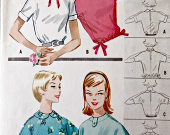 Vintage McCall's 4190 Sewing Pattern, 1950s Blouse Pattern, Top Pattern, Bust 33, Blouson Top, 1950s Sewing Pattern, Peter Pan Collar Blouse