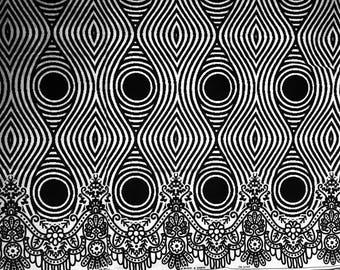 Black and White Ankara fabric, African Wax Cotton fabric, Monochrome fabric, African Print, African Ankara, sold by the yard