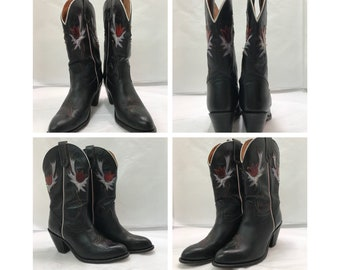 Vintage 80's Stacked Heels Miss Capezio Black Leather Multi Color Western Cowgirl Boots sz: 10M