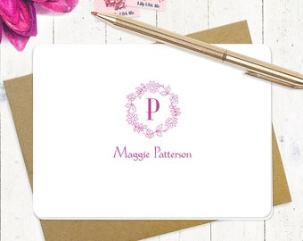 personalized stationery set - FLORAL WREATH MONOGRAM - set of 8 folded note cards - monogrammed stationary - choose color