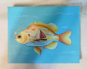 Sunfish with Sailboat; original art; fish theme, home decor, children's room or bath
