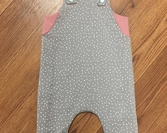 Dusty Rose and Gray reversible overall | Toddler girl romper 18 months