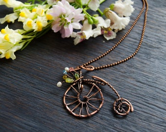 Retro Vintage Bicycle Necklace bike with flowers, one of a kind jewelry unique gift for traveller