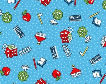 FABRIC Back to SCHOOL My ABCs Little Red Schoolhouses   We combine shipping