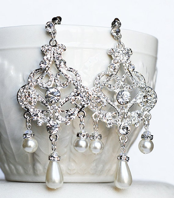 Bridal earring wedding earring rhinestone chandelier earrings like this item aloadofball Image collections