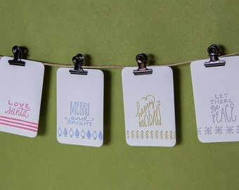 Letterpress Holiday Gift Tags, Set of 12