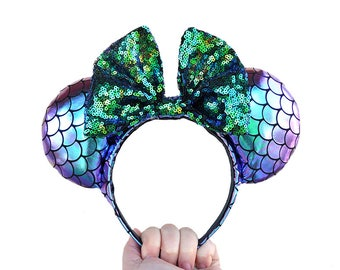 Iridescent Little Mermaid Mickey Mouse Ears Minnie Mouse Ears - MADE TO ORDER
