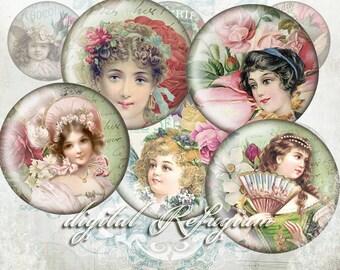 femmes de fleur 30 round Images 3cm collage sheet