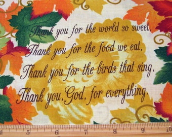 "Fat Quarter Thanksgiving Stoff ""Thanksgiving Prayer"" #3431 Herbst Ernte Herbst lässt Allover religiösen Spruch - Federn Wohn - OOP"
