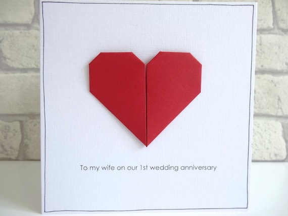 St wedding anniversary card romantic personalised paper