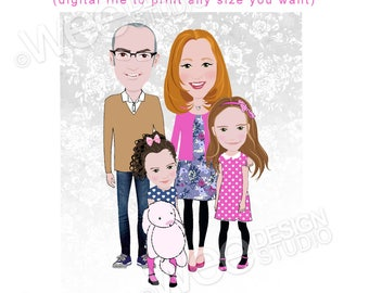DIGITAL ONLY VERSION Custom Family Portrait illustration Drawing. Birthday Gift-Housewarming-Anniversary-Christmas.
