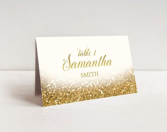 Gold Place Cards Wedding Place Cards Printable Wedding Table Cards Gold Glitter Place Cards Wedding Seating Cards Gold Name Cards Elegant