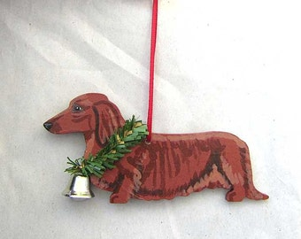 Hand-Painted DACHSHUND LONGHAIR RED Wood Christmas Ornament...Artist Original, Christmas Tree Ornament Decoration