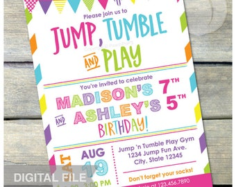 "Joint Gymnastics Birthday Invitation Jump Tumble Play Girls Sisters Pink Party - DIGITAL Printable Invite - 5"" x 7"""