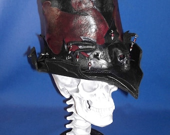 """Leather """"Midnyght Crimson"""" Gothic Tribal Victorian Riding Hat OOAK"""
