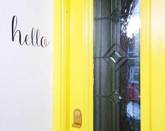 Calligraphy 'Hello' Front Door/Wall Decal. Scandi Decor, New Home Gift, Instagram House, Door Decoration, Fun Front Door, Moving House