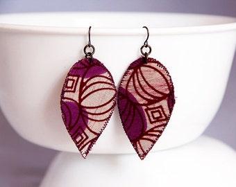 Purple earrings, statement jewelry, bohemian earrings, lightweight earrings, African fabric earrings, purple drop earrings, batik jewelry