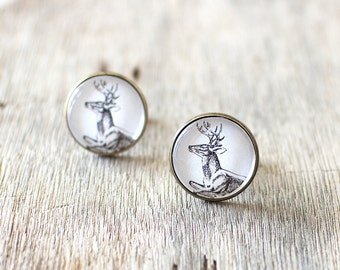 Deer Cufflinks. Woodland Cufflinks. Nature Cufflinks. Mens Cufflinks. Wedding Cufflinks. Stag Cufflinks. Country Wedding.