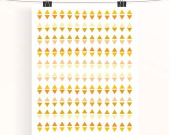 Triangle geometric print - yellow and orange abstract poster - wall art - nursery print - home decor - nursery art - sunshine collection