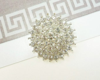 Starburst Crystal Silver Rhinestone Button (25mm, 1pc)
