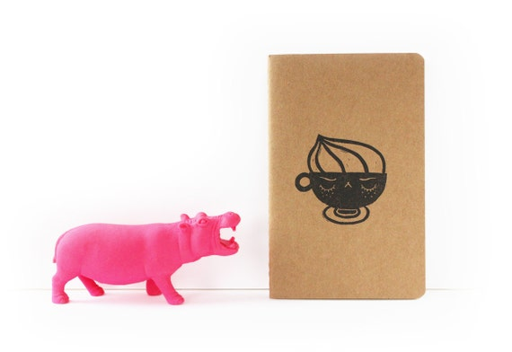 Moleskine notebook Angry Cappuccino - Handstamped with cute coffee character illustration - black - A6 / small - plain, ruled or squared