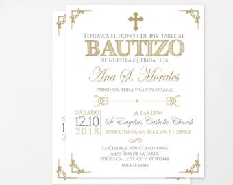 Spanish invitation etsy gold baptism invitation spanish baptism invitation printable christening invitation glitter invites stopboris Gallery