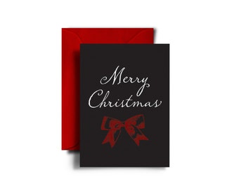 Christmas Card Pack - Merry Christmas - Set of 25 - christmas bows