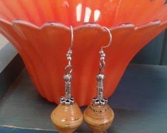 Orange Paper Beaded Earrings
