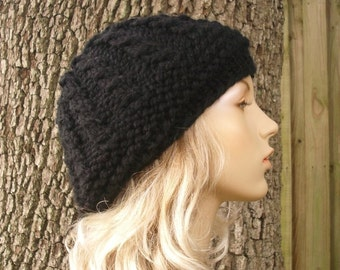 Womens Hat - Chunky Thumb Cable Beret Black Knit Hat - Black Hat Black Beanie Black Beret Womens Knit Accessories - 34 Color Choices