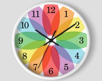 Color Lover's Wall Clock - Rainbow Flower design with White Wood Frame - 10-inch Round Clock - Made to Order