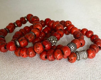 Red Stone Earth Bead Bracelet - Balance and Center - Bohemian Earth Jewelry