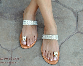 """FREE SHIPPING-Bridal Sandals """"ILIADA"""",Greek Sandals,Luxury Sandals,Leather Sandals with Crystals ,Ancient Greek Sandals,Wedding Shoes,"""