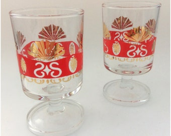 Pair of Two 1950's Red and Gold Luminarc French Footed Shot Drinking Glasses- Midcentury Tumbler- Vintage Retro Bar- Cordial Stemware Set
