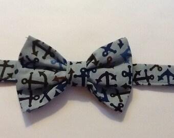 Bow Tie - Men's Bow Tie, Blue with brown anchors - Adjustable - self tie o pretied