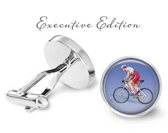 Cyclist Triathlete Road Bike Cufflinks - Cycling Cuff Links - Triathlon Cufflink (Pair) Lifetime Guarantee (S1021)