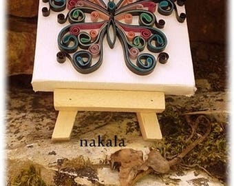 painting and easel varnished and hardened paper Butterfly decoration