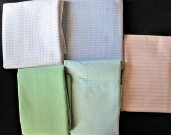 Vintage Lot of Pastel Cotton Fabrics 8.5 yds Total Quilting, Sewing, Crafts