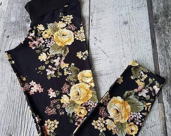 Leggings for women - yellow flowers