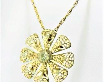 Vintage Rhinestone Flower Necklace 1950's