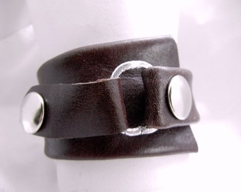 """SALE! Oxblood Brown Leather Cuff, Wedge Shaped Leather Bracelet size 7"""" wrist. Free shipping, Handmade by Bumbleberry Jewelry"""