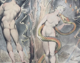 1947 Temptation of Eve, William Blake illustration from Paradise Lost, Original Vintage Art Print, 13 x 17 inches