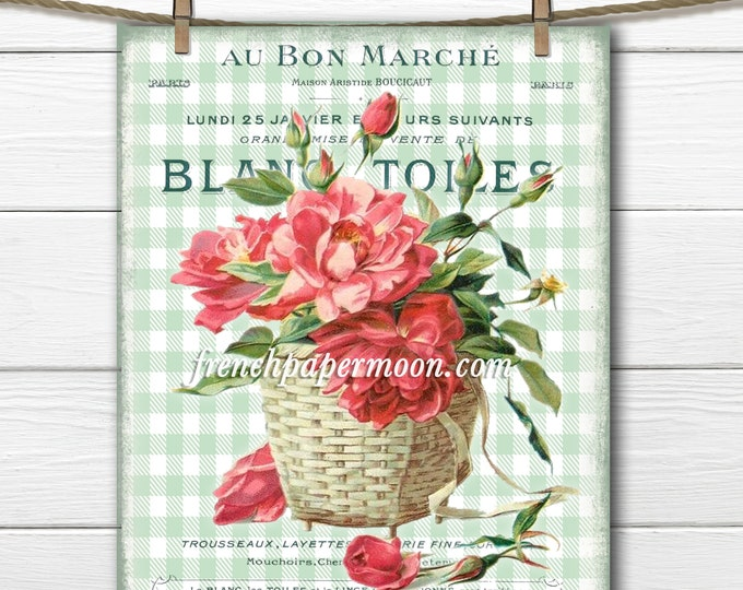 French Shabby Flower Basket Digital, Floral Fabric Block Image, French Pillow Graphic Transfer, Basket of Roses, Printable