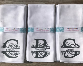 Set (4) personalized kitchen towels-wedding shower-housewarming gift