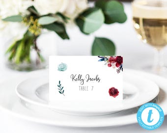 Wedding Place Card Printable, Place Card Template, Table Number Name Card, Wedding name card, Place card, seating card, navy Burgundy