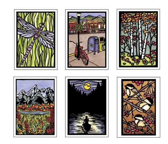 Best Seller Collection - 6 Blank Greeting Cards - Dragonfly, Main Street, Tetons, Solitude, Chickadees, Autumn Leaves - Summer, Spring, Fall