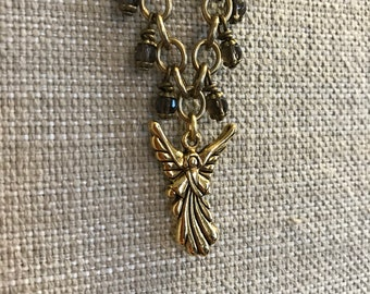 Angel Charm Bracelet with Smokey Quartz Stones