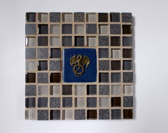 "Tan Brown Gray Glass Marble Stone Mosaic Tile Trivet with Dragon 6"" x 6"""
