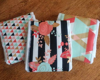 Set of 3 Burp Cloths, Gold, Black, Mint, and Coral
